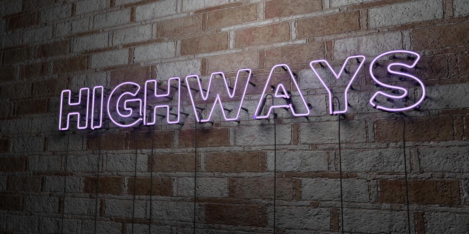 HIGHWAYS - Glowing Neon Sign on stonework wall - 3D rendered royalty free stock illustration. Can be used for online banner ads and direct mailers stock illustration