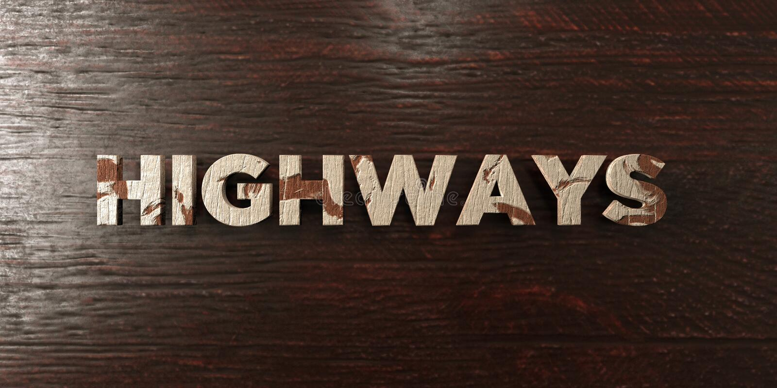 Highways - grungy wooden headline on Maple - 3D rendered royalty free stock image. This image can be used for an online website banner ad or a print postcard stock illustration