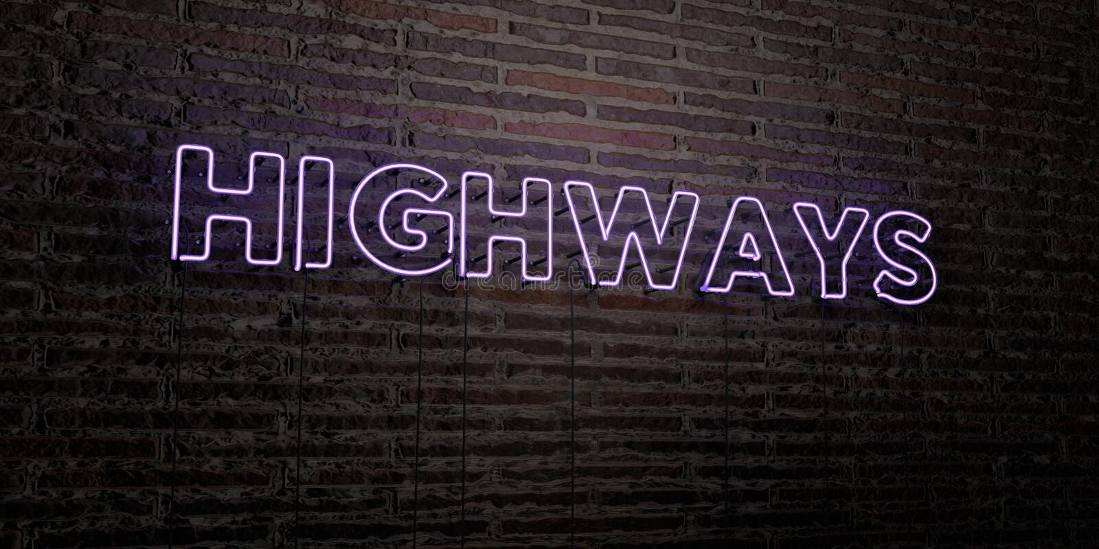 HIGHWAYS -Realistic Neon Sign on Brick Wall background - 3D rendered royalty free stock image. Can be used for online banner ads and direct mailers stock illustration