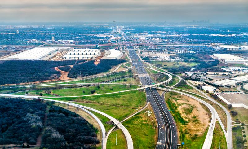 Highways and road interchanges near Dallas in Texas, United States. Aerial view royalty free stock image