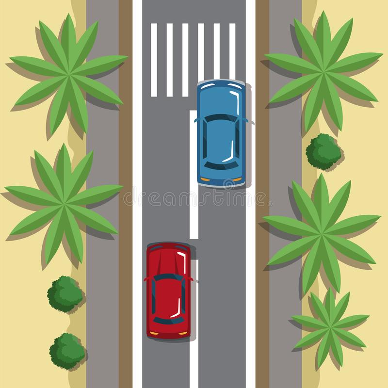 Highways top view cartoon. Icon vector illustration graphic design royalty free illustration