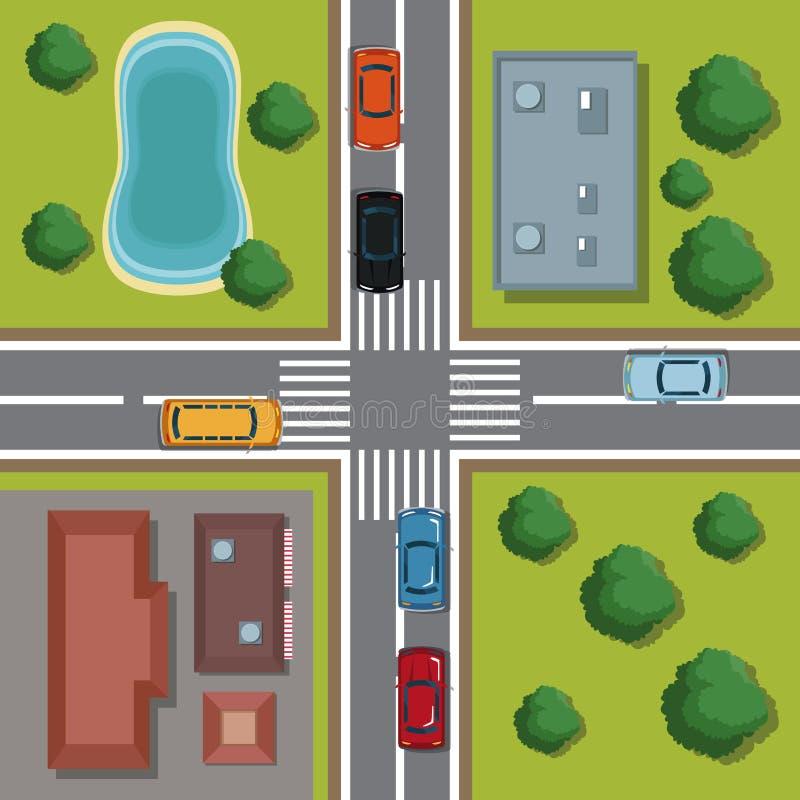 Highways top view cartoon. Icon vector illustration graphic design stock illustration