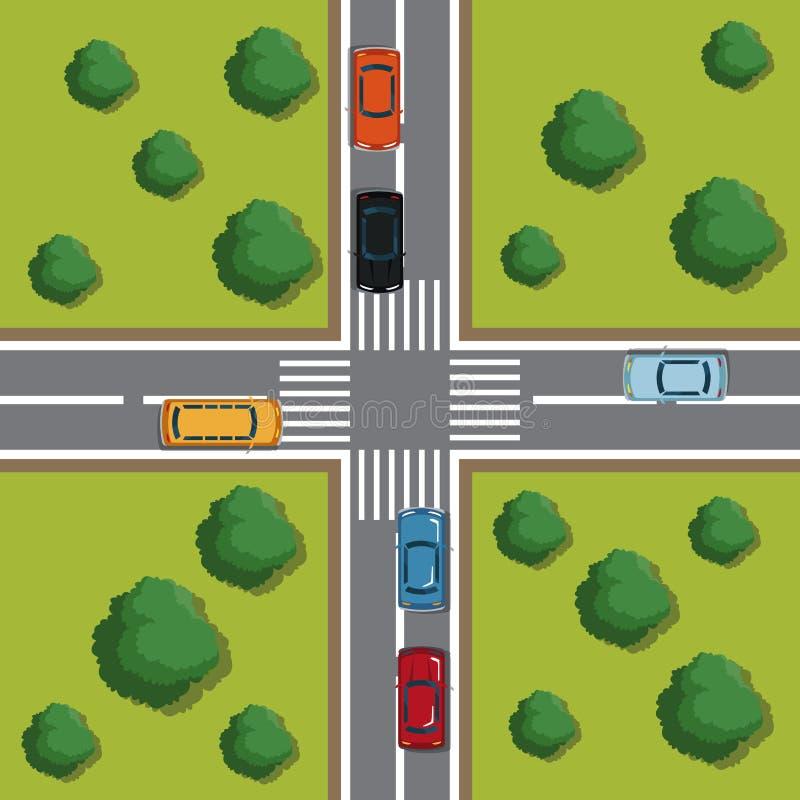 Highways top view cartoon. Icon vector illustration graphic design vector illustration