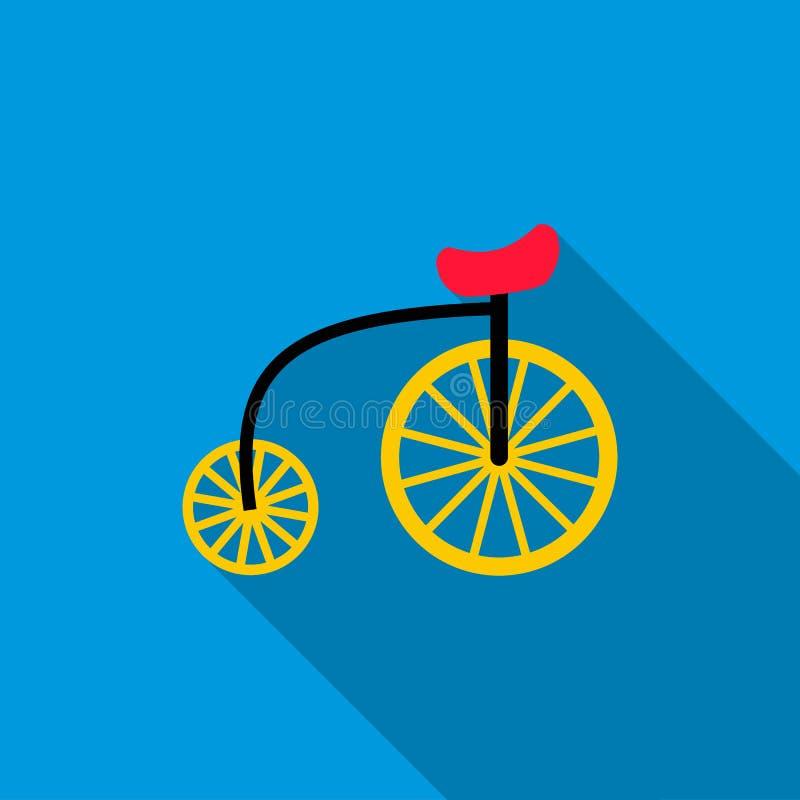 Highwheel-Fahrradikone, flache Art stock abbildung