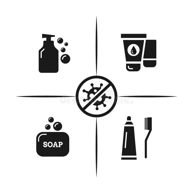 Higiena, bakterii ochrony wirusowy pojęcie odizolowywający na białym tle ilustracji