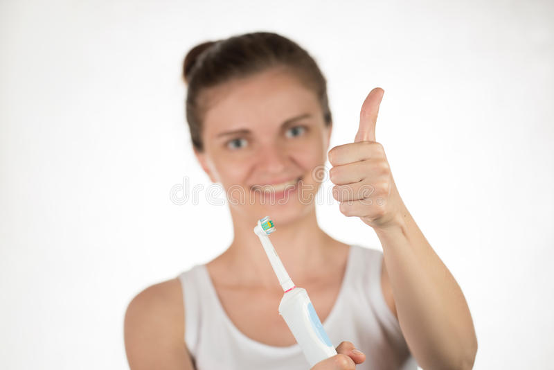 Higiena oralny zagłębienie Młoda dziewczyna z śnieżnobiałym uśmiechu sho zdjęcie royalty free