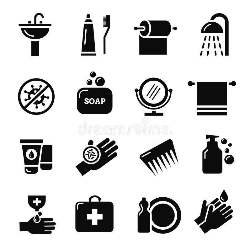 Higiene, ícones do vetor da proteção do vírus das bactérias ilustração do vetor