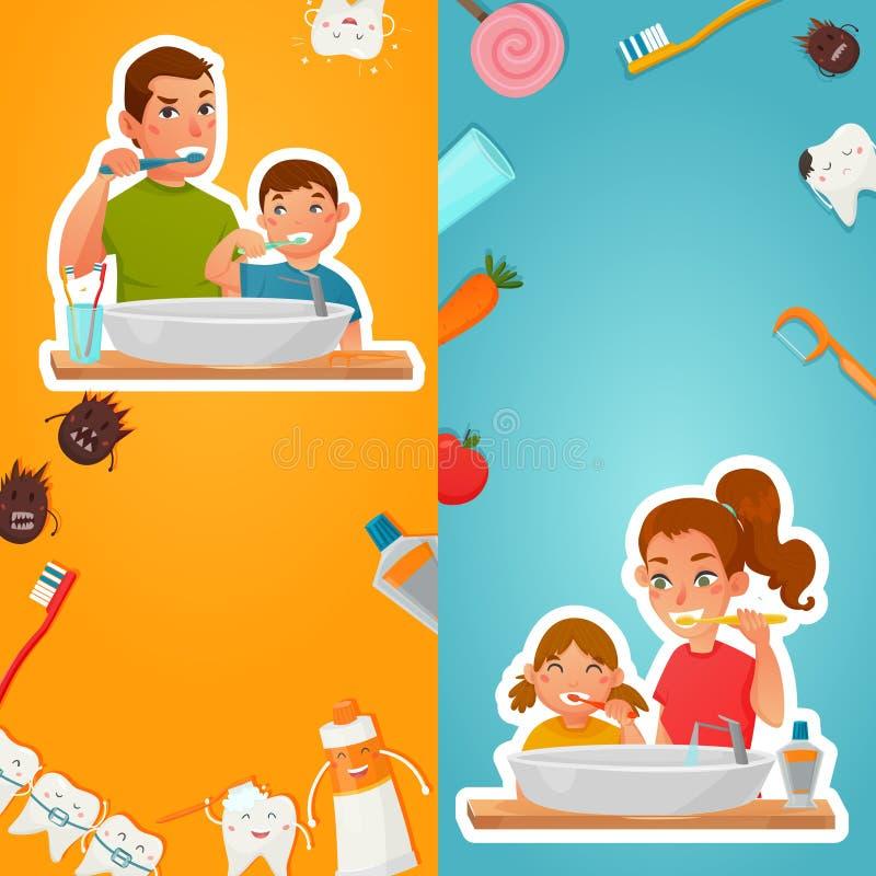 Higiene de la familia de las banderas de la vertical de los dientes ilustración del vector