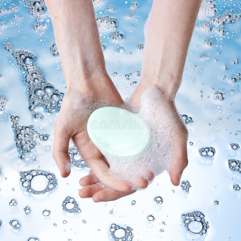Higiene de las manos del jabón que se lava fotografía de archivo libre de regalías
