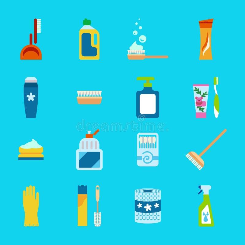 Higiene del vector e iconos planos de los productos de limpieza Limpiador y papel higiénico, crema dental y desodorante libre illustration