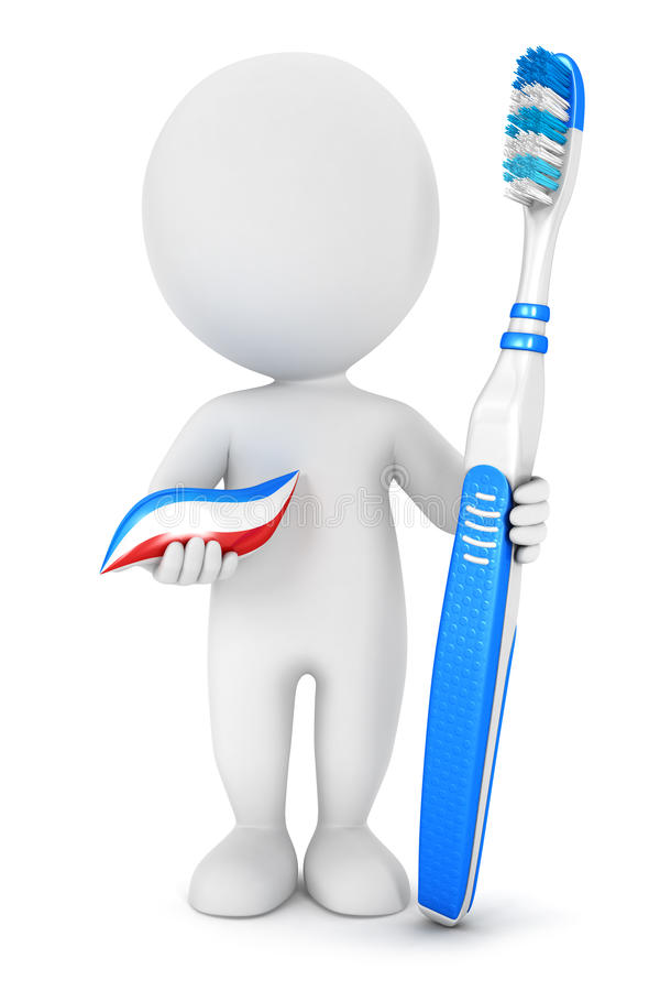 higiene dental de la gente blanca 3d libre illustration