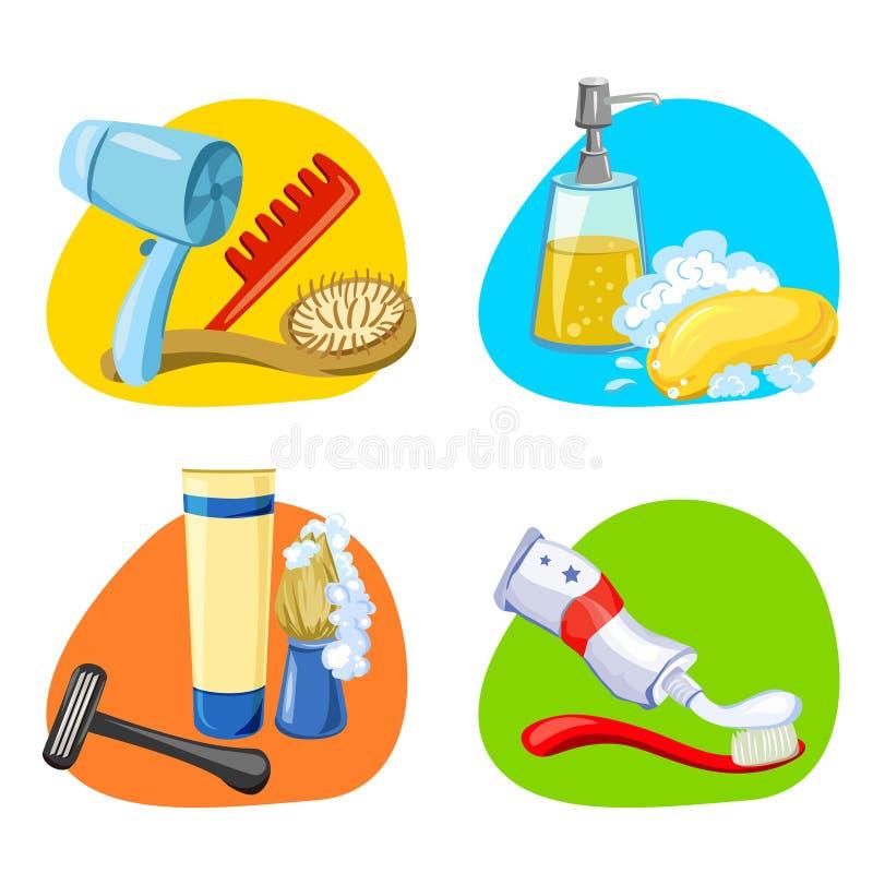 Higiene e autossuficiência dos ícones ilustração stock
