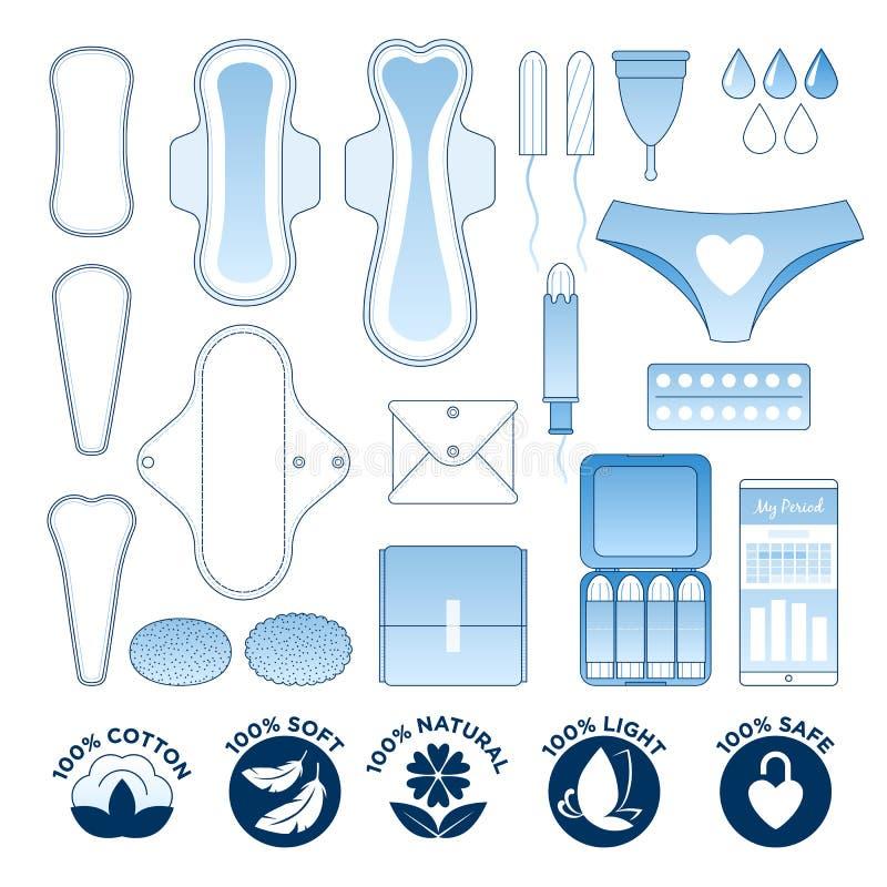 Higiene feminino - guardanapo sanitários, pantyliners e grupo do ícone dos tampões ilustração royalty free