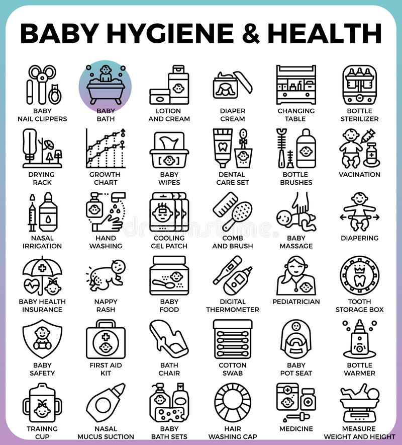 Higiene y salud del bebé stock de ilustración