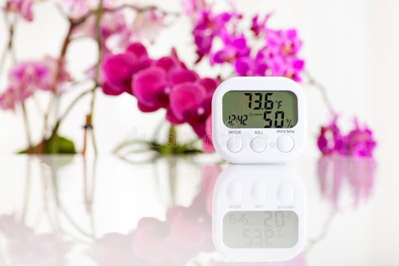 Higrómetro electrónico blanco en la tabla blanca con las orquídeas en el fondo Modo de Fahrenheit fotografía de archivo
