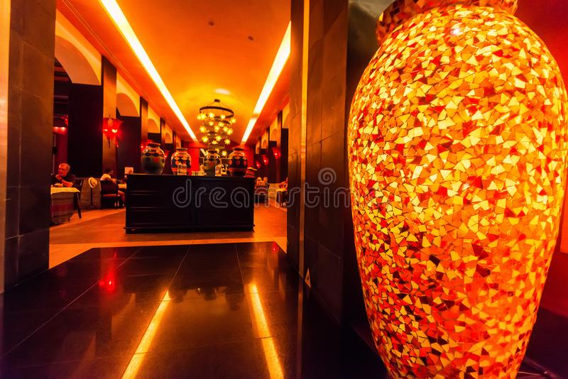 HIGUEY, ДОМИНИКАНСКАЯ РЕСПУБЛИКА - 29-ОЕ ОКТЯБРЯ 2015: Интерьер ресторана в Dominicana стоковые фото