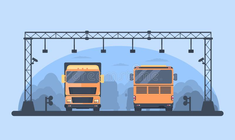 higway的通行费 关门建筑 为自动充电成拱形在收费公路 在车行道的公共汽车和卡车卡车 库存例证