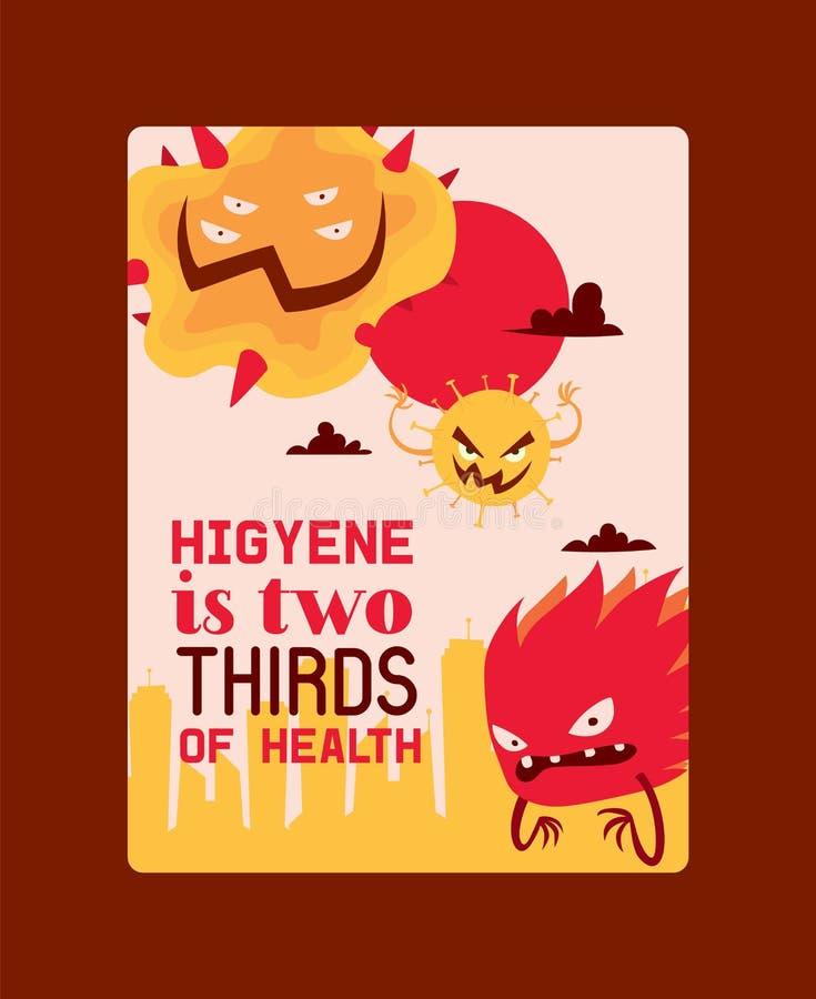 Higyene is tweederden van de vectorillustratie van de gezondheidsaffiche Microben of inzameling van beeldverhaalvirussen slecht royalty-vrije illustratie