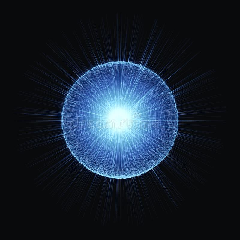 Hiigh散发辐射的光芒能量微粒 核Fucion 皇族释放例证