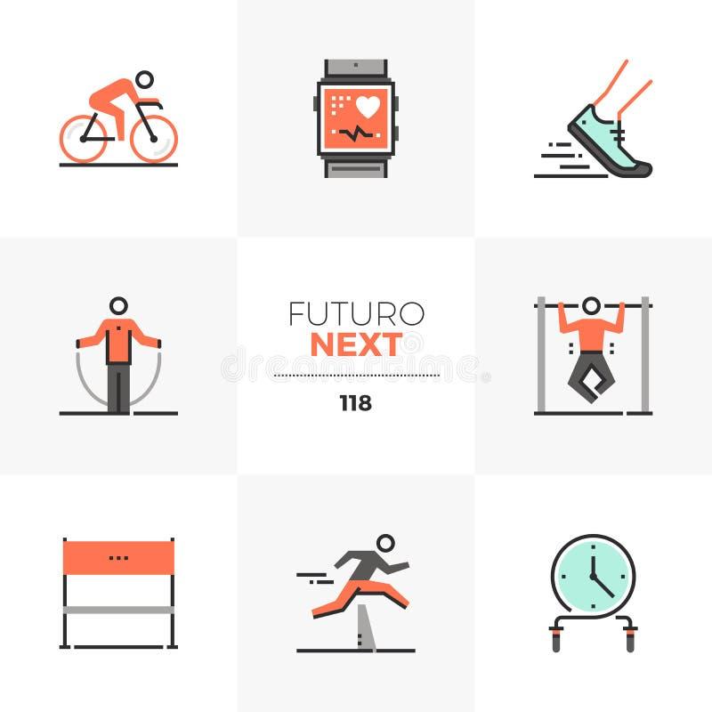 HIIT, das folgende Ikonen Futuro ausbildet lizenzfreie abbildung