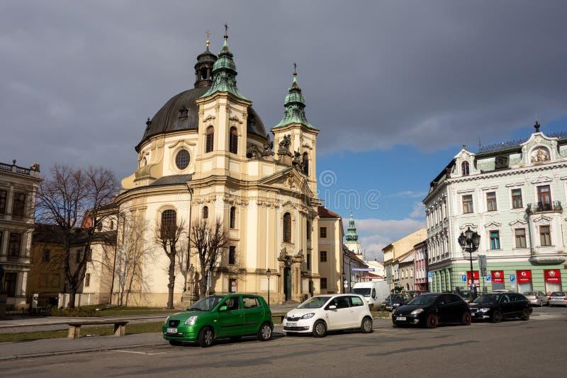 Hij barokke Kostel SV Jana Krtitele Church van heilige John Doopsgezind in Kromeriz, Tsjechische Republiek royalty-vrije stock afbeeldingen