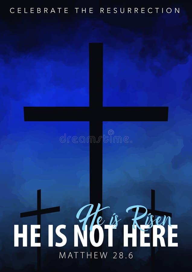 Hij is toegenomen Christelijke Pasen-scène Het kruis van de Verlosser op dramatische zonsopgangscène vector illustratie