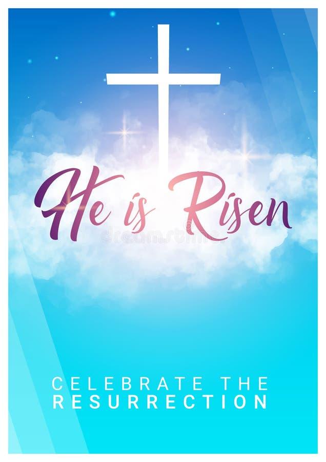 Hij is toegenomen Christelijke Pasen-scène Het kruis van de Verlosser op dramatische zonsopgangscène stock illustratie