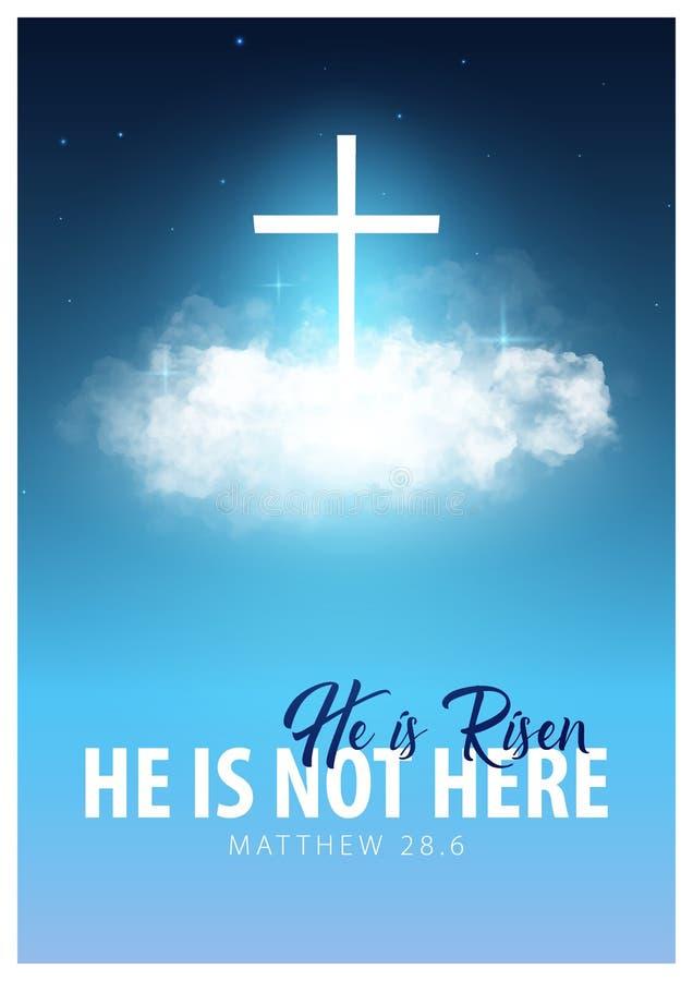 Hij is toegenomen Christelijke Pasen-scène Het kruis van de Verlosser op dramatische zonsopgangscène royalty-vrije illustratie