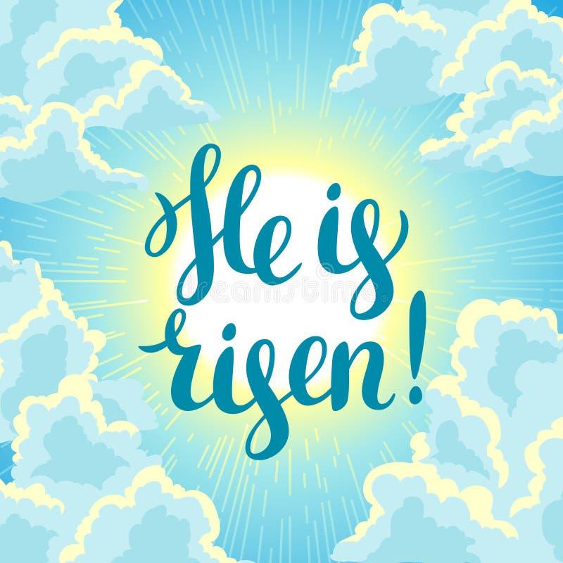 Hij is toegenomen Gelukkige Pasen-conceptenillustratie of groetkaart Godsdienstig symbool van geloof tegen bewolkte zonsopganghem vector illustratie