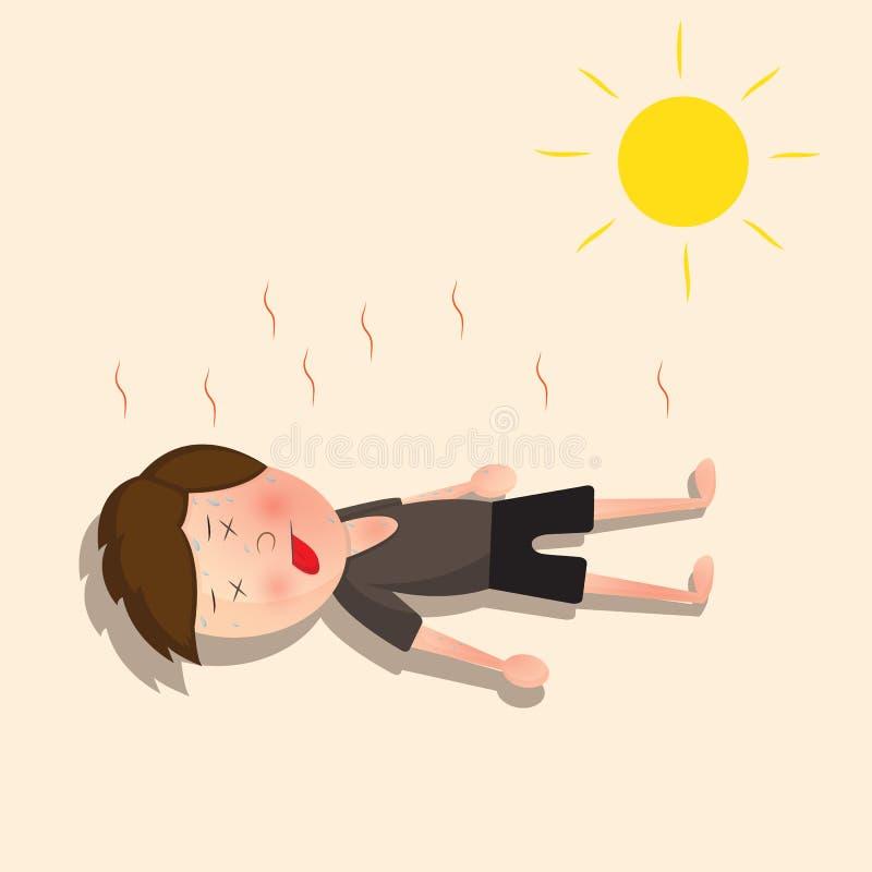 Hij verloor bewustzijn wegens de hete zon vector illustratie
