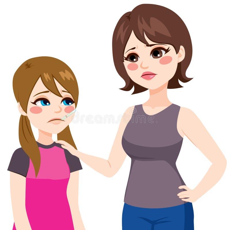 Hija con el termómetro y la madre stock de ilustración