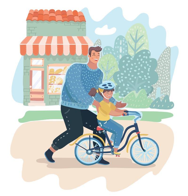 Hija de enseñanza del papá que cuida para montar la bici stock de ilustración