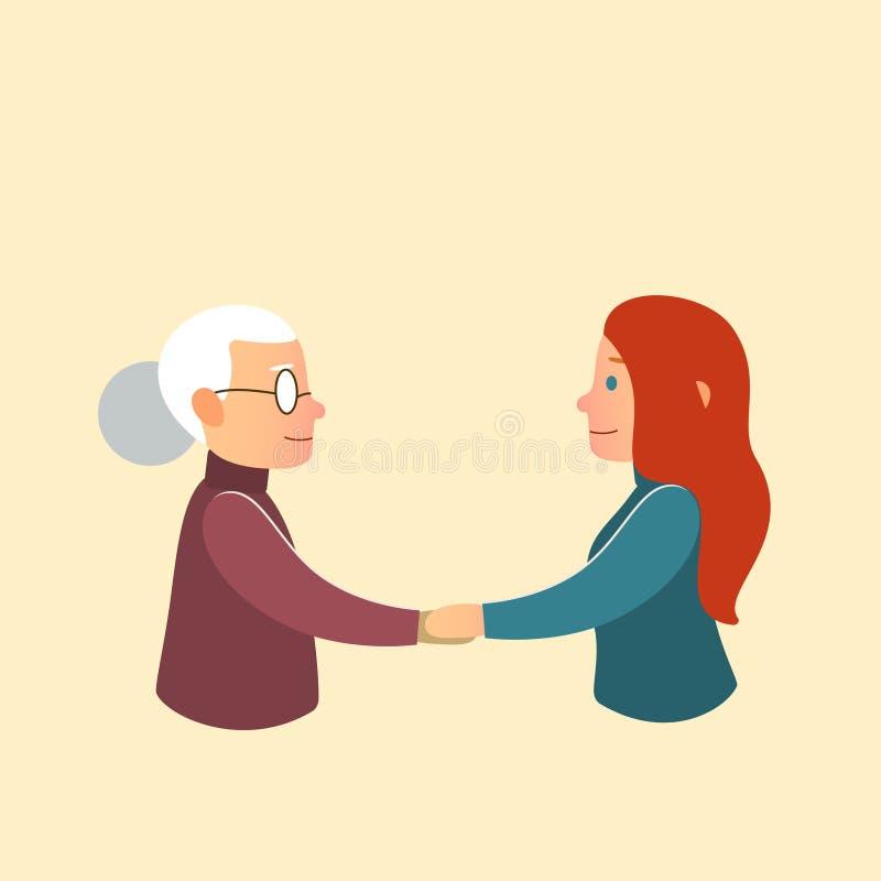 Hija o nieta con la abuela de la madre ilustración del vector
