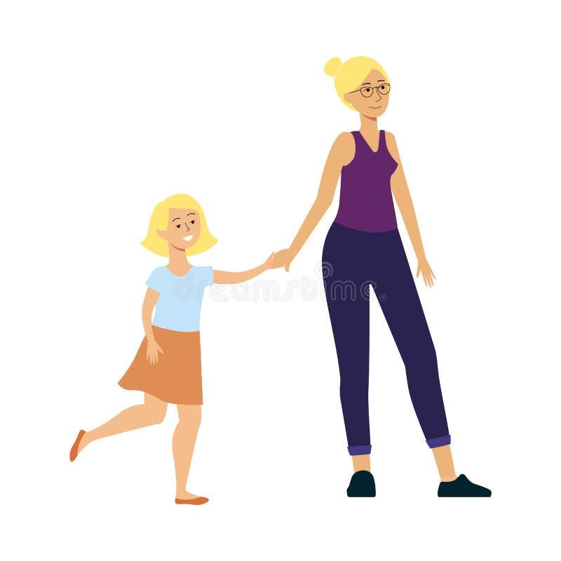 Hija y madre que caminan y que sonríen, tiempo feliz del gasto de la familia del personaje de dibujos animados junto libre illustration