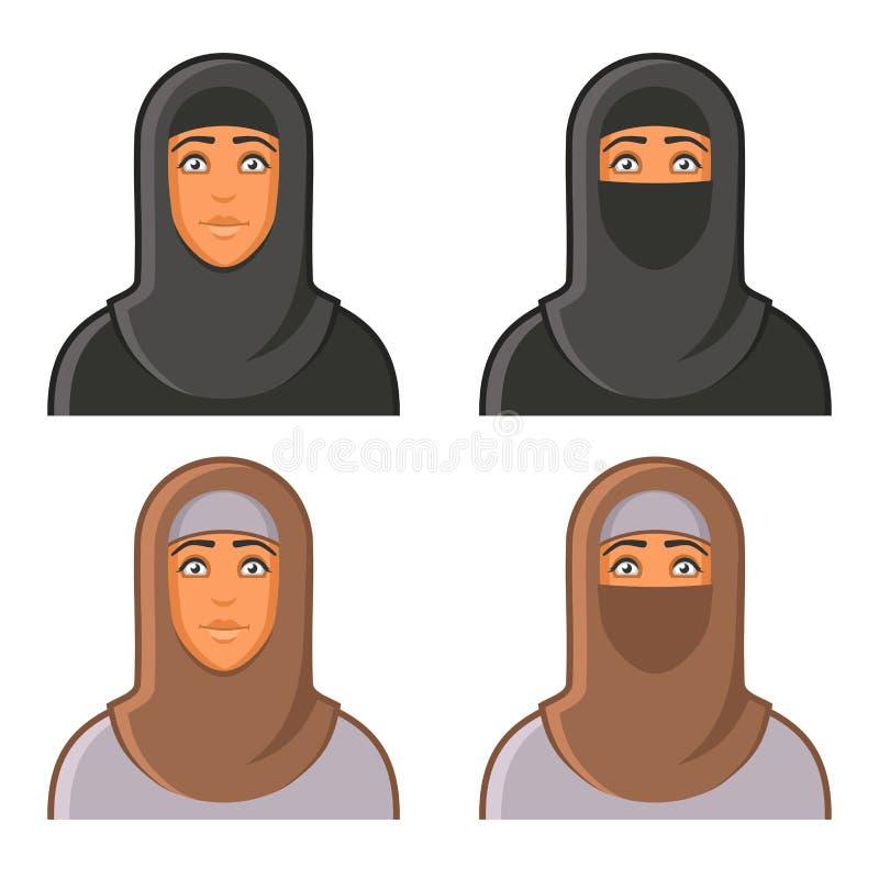 Hijab具体化的回教妇女被设置 向量 皇族释放例证