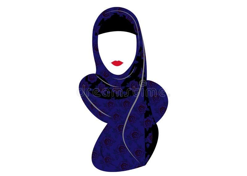 hijab的,用花装饰的织品阿拉伯回教妇女 传染媒介在白色背景的被隔绝的图画 皇族释放例证
