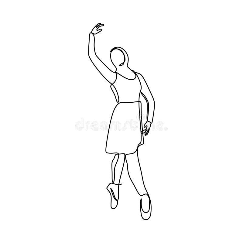 Hijab芭蕾舞女演员一实线图画传染媒介例证 艺术性的舞蹈简单派设计 皇族释放例证