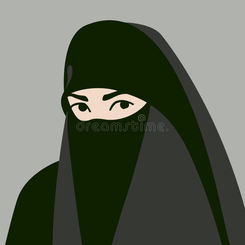 hijab面孔传染媒介例证平的样式的穆斯林朝向 库存例证