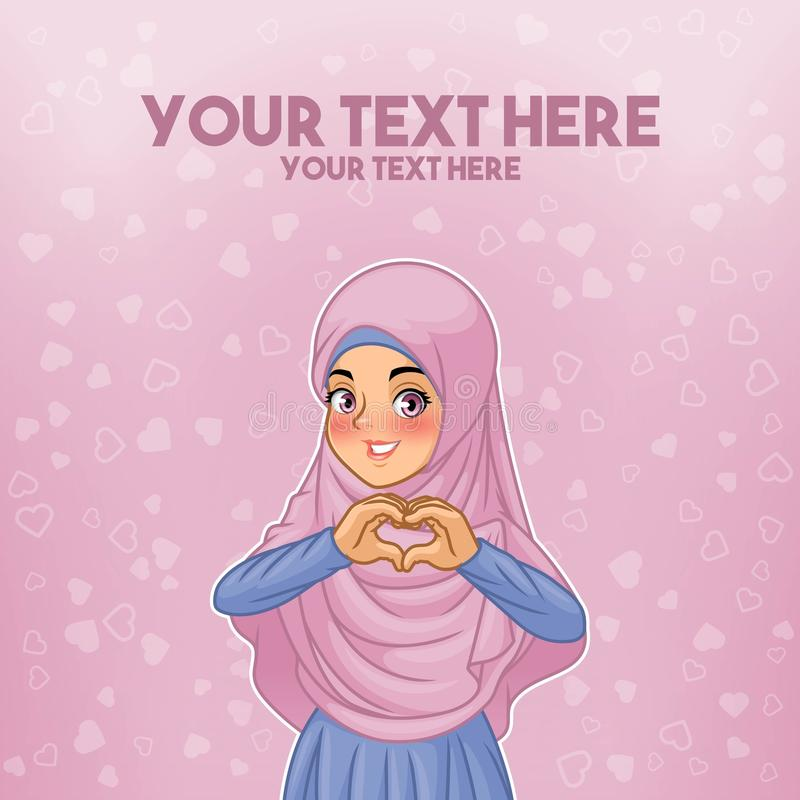 Hijab d'uso della donna musulmana che fa forma del cuore con le sue mani illustrazione vettoriale