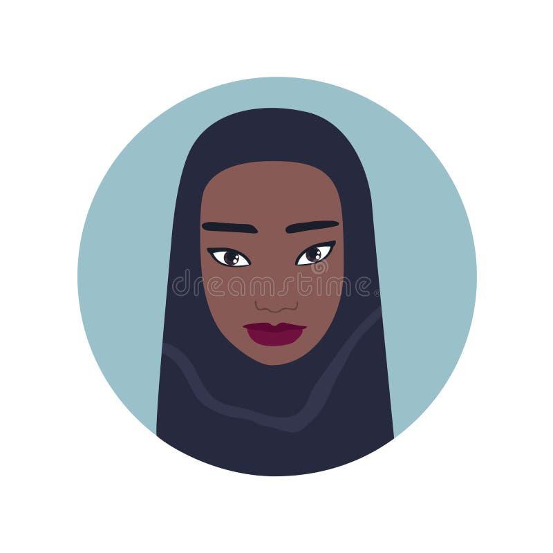 Hijab d'uso della ragazza del ritratto del bello fronte musulmano adorabile della donna royalty illustrazione gratis