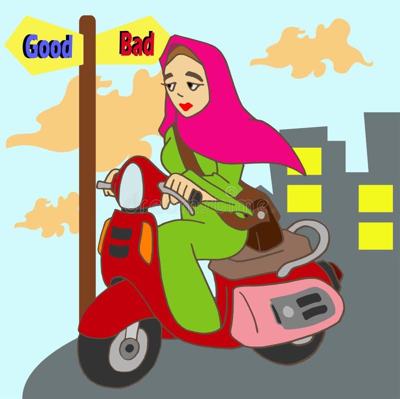 Hijab damy hulajnoga jeździec fotografia stock