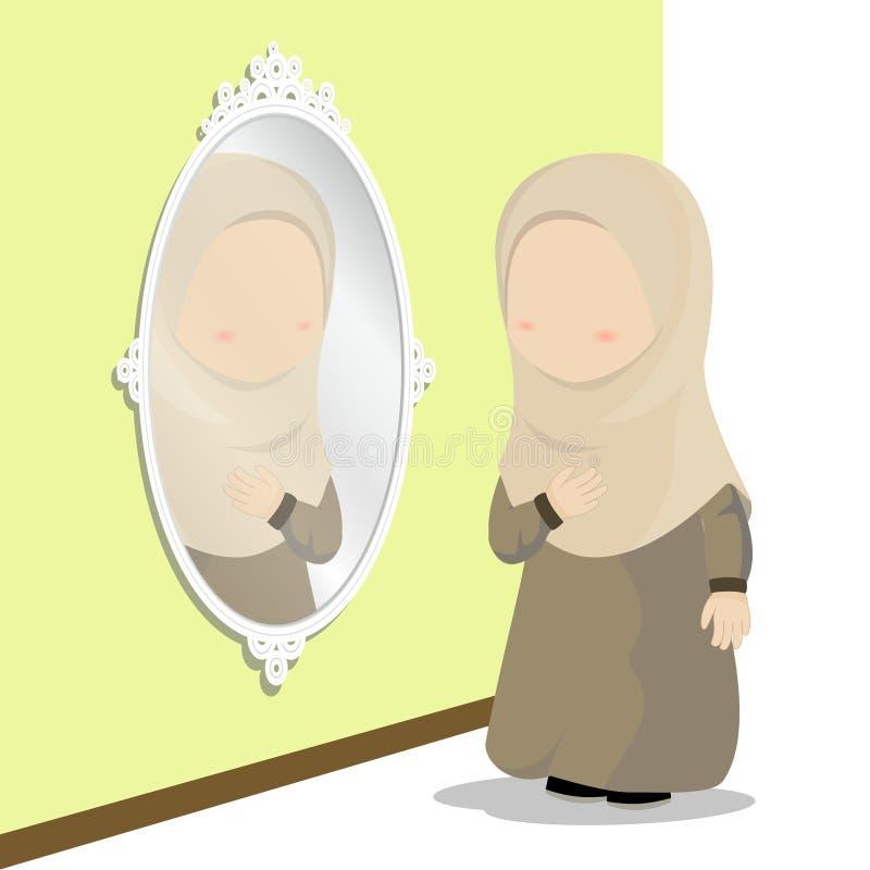 Hijab dziewczyny postać z kreskówki, trochę patrzejący w lustrze dla ubiera up, wektorowa ilustracja ilustracja wektor