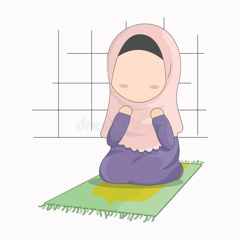 Hijab girl cartoon character, little girl praying vector illustration. Illustration of little cute girl with hijab, praying on pray mat. Cute cartoon without royalty free illustration