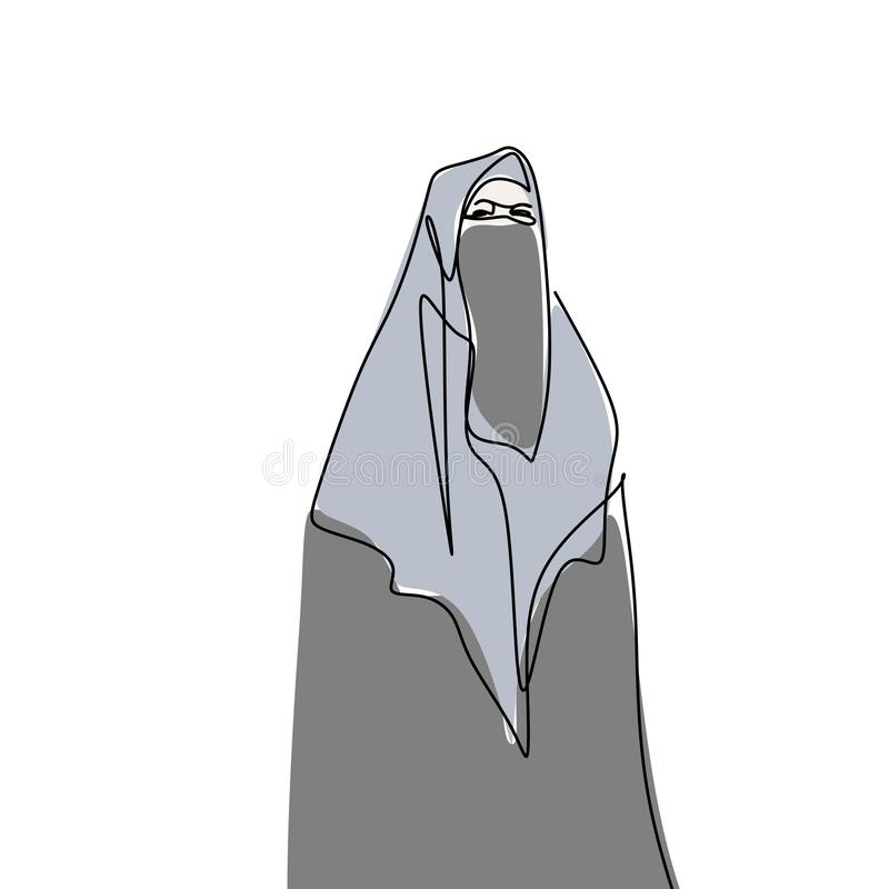 Hijab girl wearing burqa one line drawing minimalist design Islamic culture people. Religion vector hand arabic face middle clothing beautiful beauty stock illustration