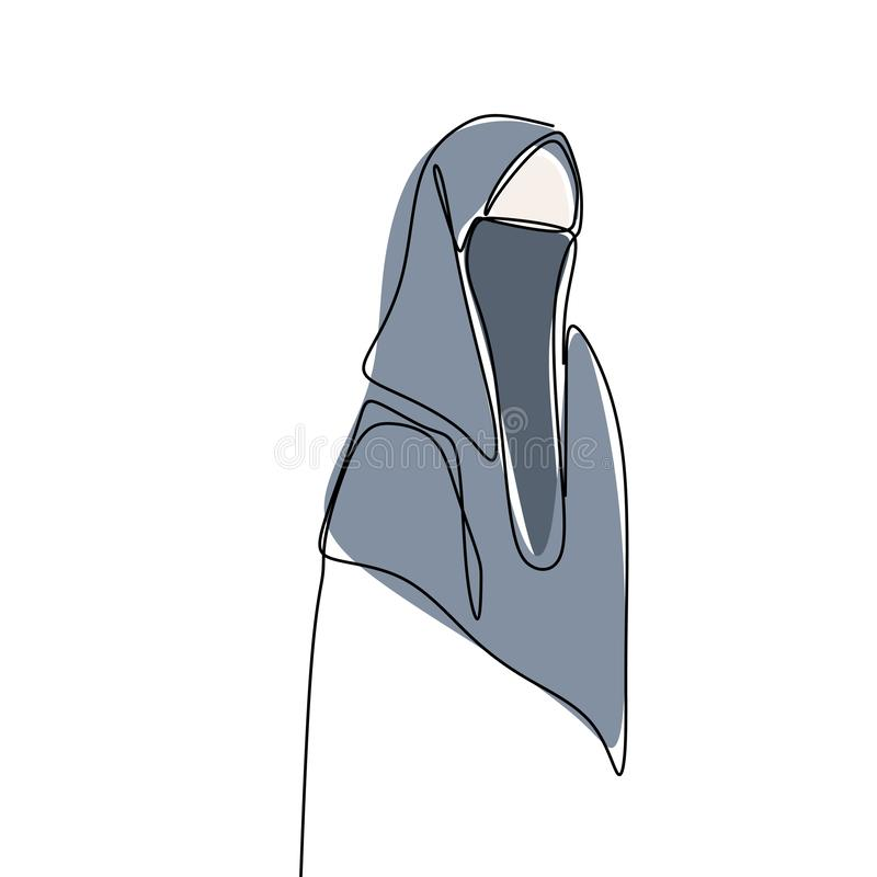 Hijab girl wearing burqa one line drawing minimalist design Islamic culture people. Religion  hand arabic face middle clothing beautiful beauty traditional stock illustration
