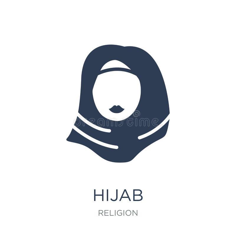 Hijab-Ikone Modische flache Vektor Hijab-Ikone auf weißem Hintergrund Franc lizenzfreie abbildung
