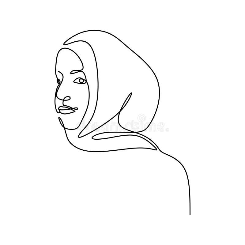 Hijab kobiet kreskowego rysunku minimalistycznego projekta minimalizmu ci?g?y modny styl royalty ilustracja