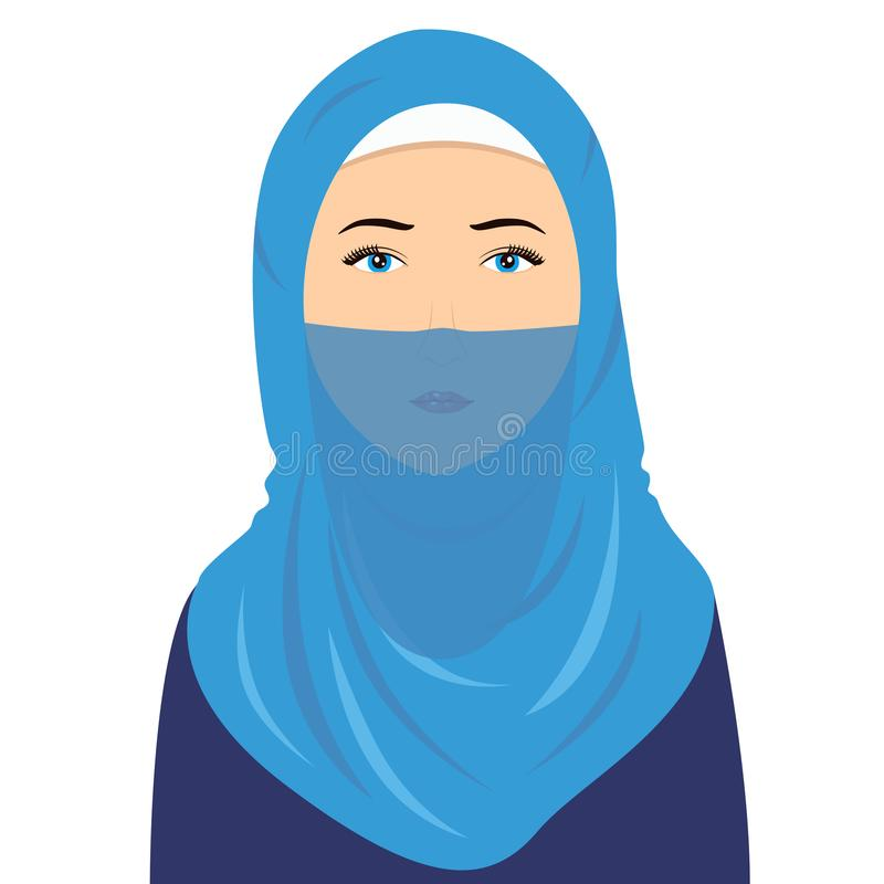 Hijab kvinnavektor vektor illustrationer