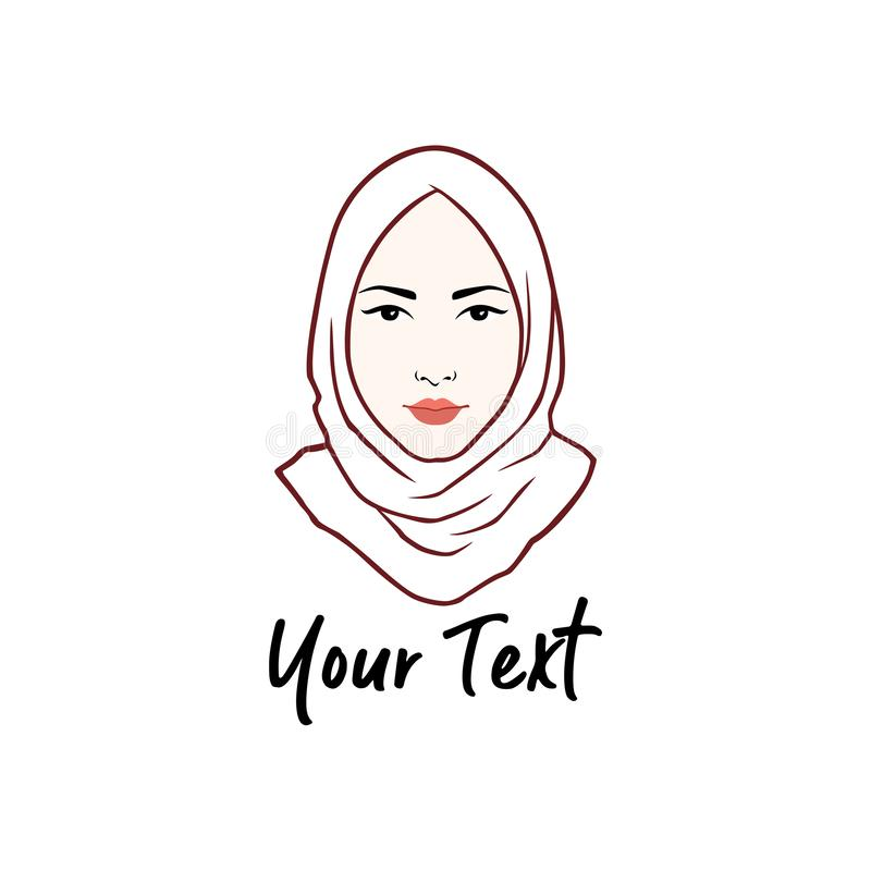 Hijab Logo. Young Lovely Muslim Girl Flat Design, Line Art Logo Vector royalty free stock images