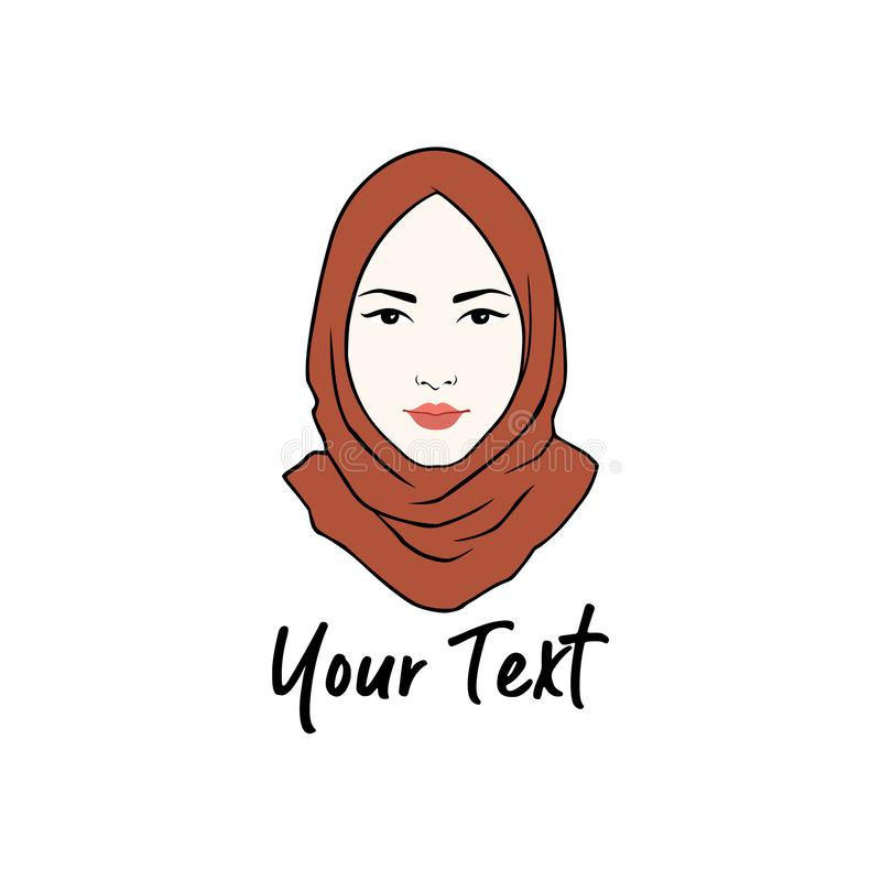 Hijab Logo. Young Lovely Muslim Girl Flat Design Logo Vector stock photo